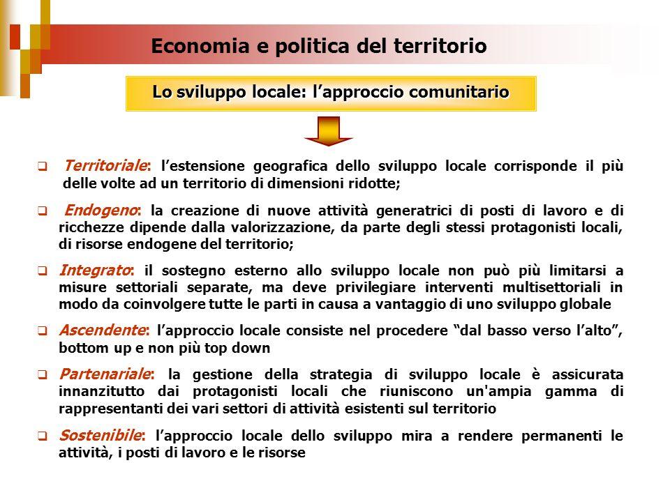 Territoriale: lestensione geografica dello sviluppo locale corrisponde il più delle volte ad un territorio di dimensioni ridotte; Endogeno: la creazio