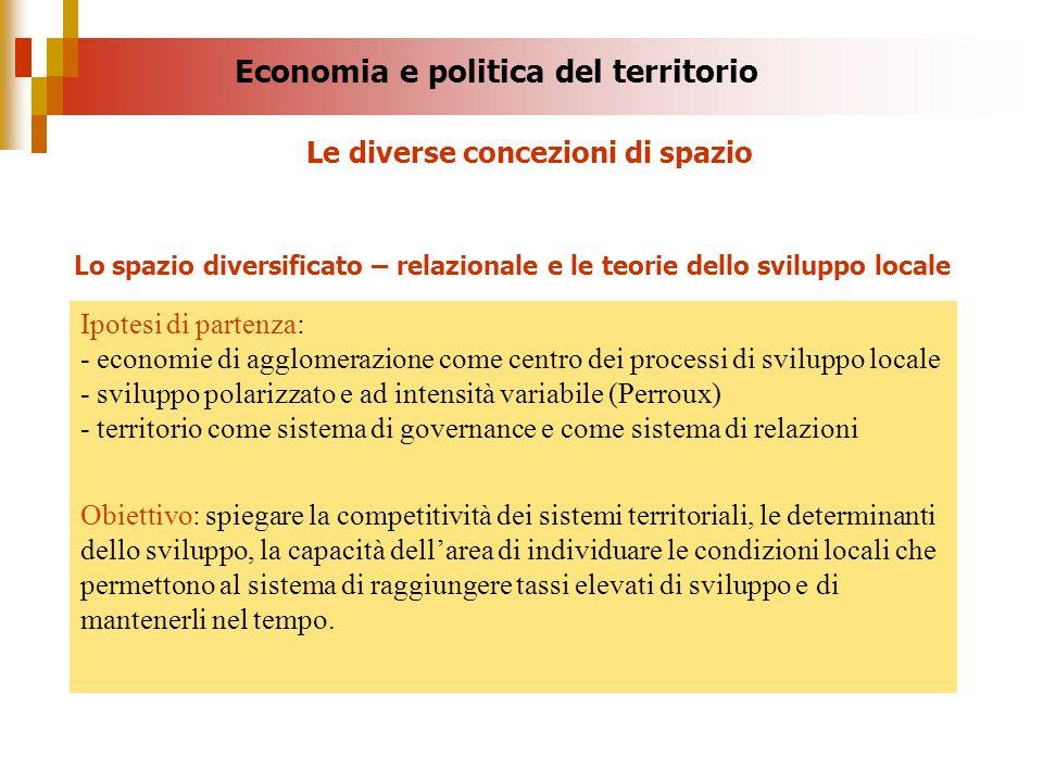 Economia e politica del territorio Ipotesi di partenza: - economie di agglomerazione come centro dei processi di sviluppo locale - sviluppo polarizzat