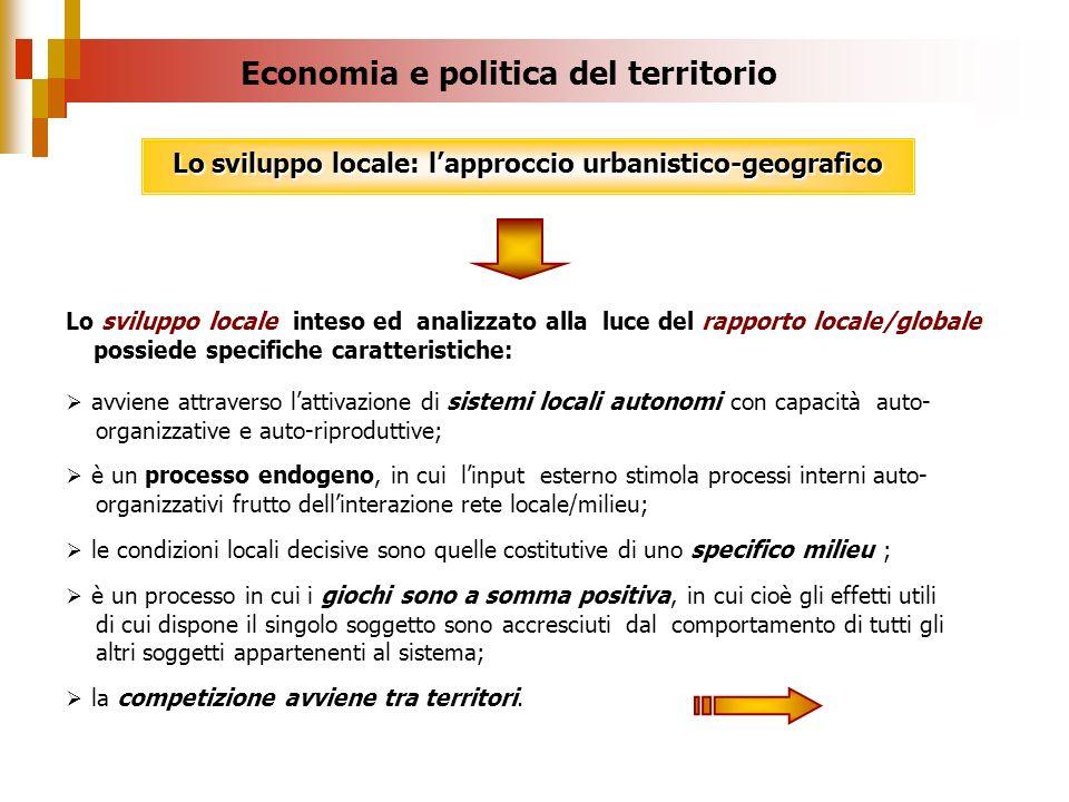 Lo sviluppo locale inteso ed analizzato alla luce del rapporto locale/globale possiede specifiche caratteristiche: avviene attraverso lattivazione di