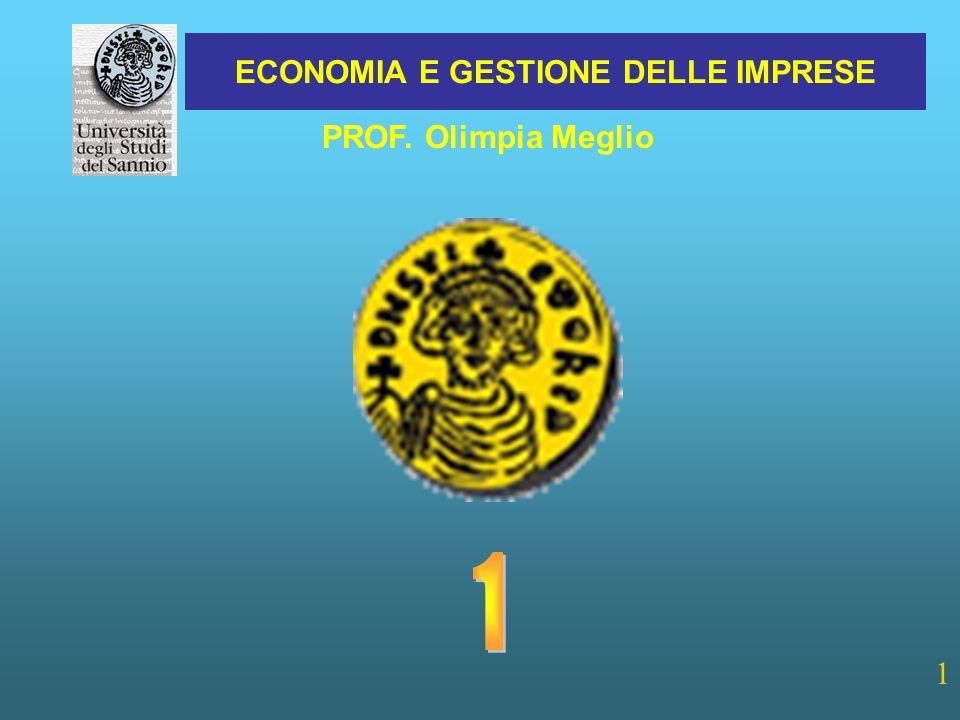 ECONOMIA E GESTIONE DELLE IMPRESE 1 PROF. Olimpia Meglio
