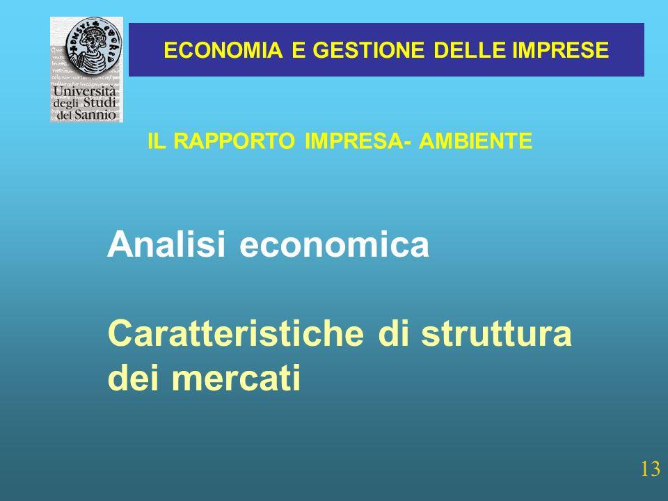 ECONOMIA E GESTIONE DELLE IMPRESE 13 IL RAPPORTO IMPRESA- AMBIENTE Analisi economica Caratteristiche di struttura dei mercati
