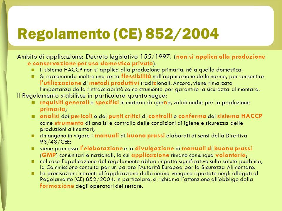 Regolamento (CE) 852/2004 Ambito di applicazione: Decreto legislativo 155/1997. (non si applica alla produzione e conservazione per uso domestico priv