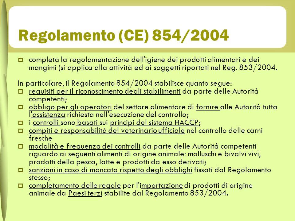 Regolamento (CE) 854/2004 completa la regolamentazione dell'igiene dei prodotti alimentari e dei mangimi (si applica alla attività ed ai soggetti ripo
