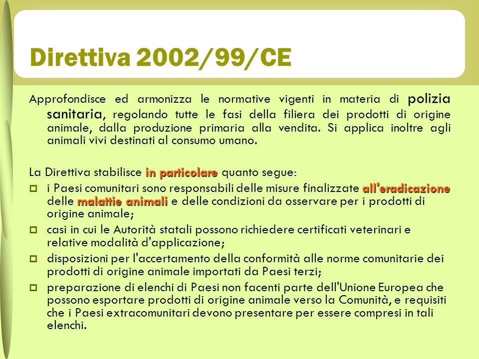 Direttiva 2002/99/CE Approfondisce ed armonizza le normative vigenti in materia di polizia sanitaria, regolando tutte le fasi della filiera dei prodot
