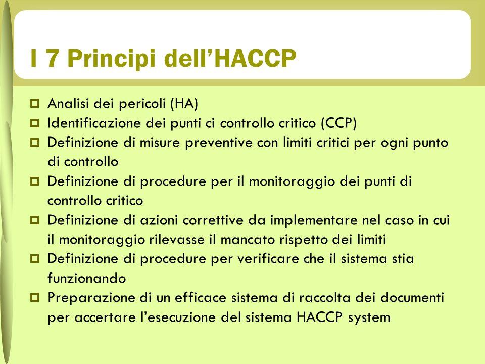 I 7 Principi dellHACCP Analisi dei pericoli (HA) Identificazione dei punti ci controllo critico (CCP) Definizione di misure preventive con limiti crit