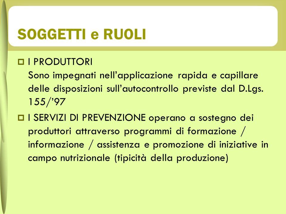 SOGGETTI e RUOLI I PRODUTTORI Sono impegnati nellapplicazione rapida e capillare delle disposizioni sullautocontrollo previste dal D.Lgs. 155/97 I SER