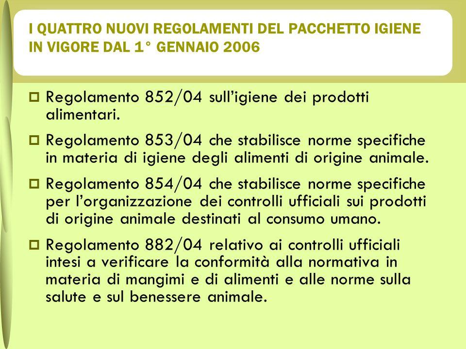 I QUATTRO NUOVI REGOLAMENTI DEL PACCHETTO IGIENE IN VIGORE DAL 1° GENNAIO 2006 Regolamento 852/04 sulligiene dei prodotti alimentari. Regolamento 853/