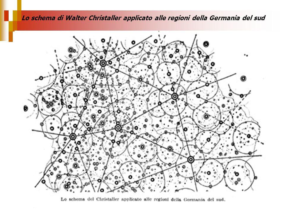 Lo schema di Walter Christaller applicato alle regioni della Germania del sud
