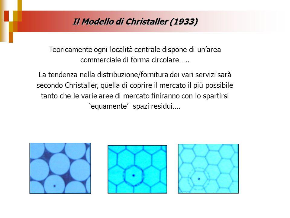 Il Modello di Christaller (1933) Teoricamente ogni località centrale dispone di unarea commerciale di forma circolare….. La tendenza nella distribuzio