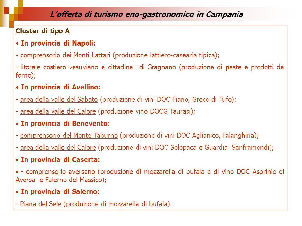 Cluster di tipo A In provincia di Napoli: - comprensorio dei Monti Lattari (produzione lattiero-casearia tipica); - litorale costiero vesuviano e citt