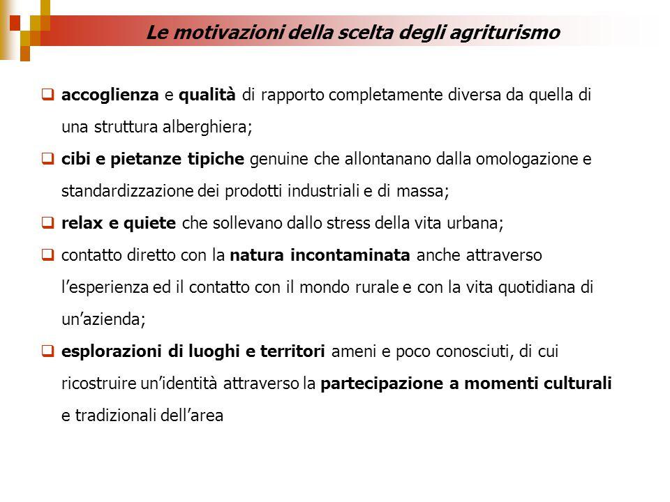 Le motivazioni della scelta degli agriturismo accoglienza e qualità di rapporto completamente diversa da quella di una struttura alberghiera; cibi e p