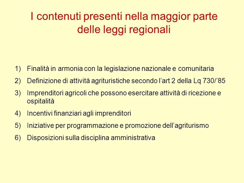 I contenuti presenti nella maggior parte delle leggi regionali 1)Finalità in armonia con la legislazione nazionale e comunitaria 2)Definizione di atti