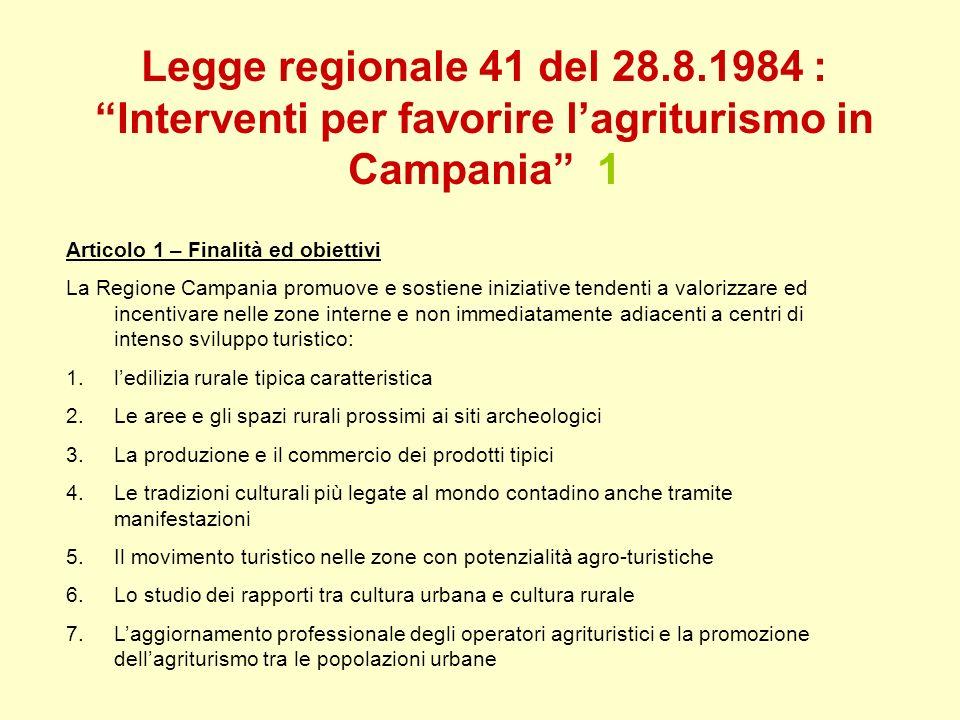 Legge regionale 41 del 28.8.1984 : Interventi per favorire lagriturismo in Campania 1 Articolo 1 – Finalità ed obiettivi La Regione Campania promuove