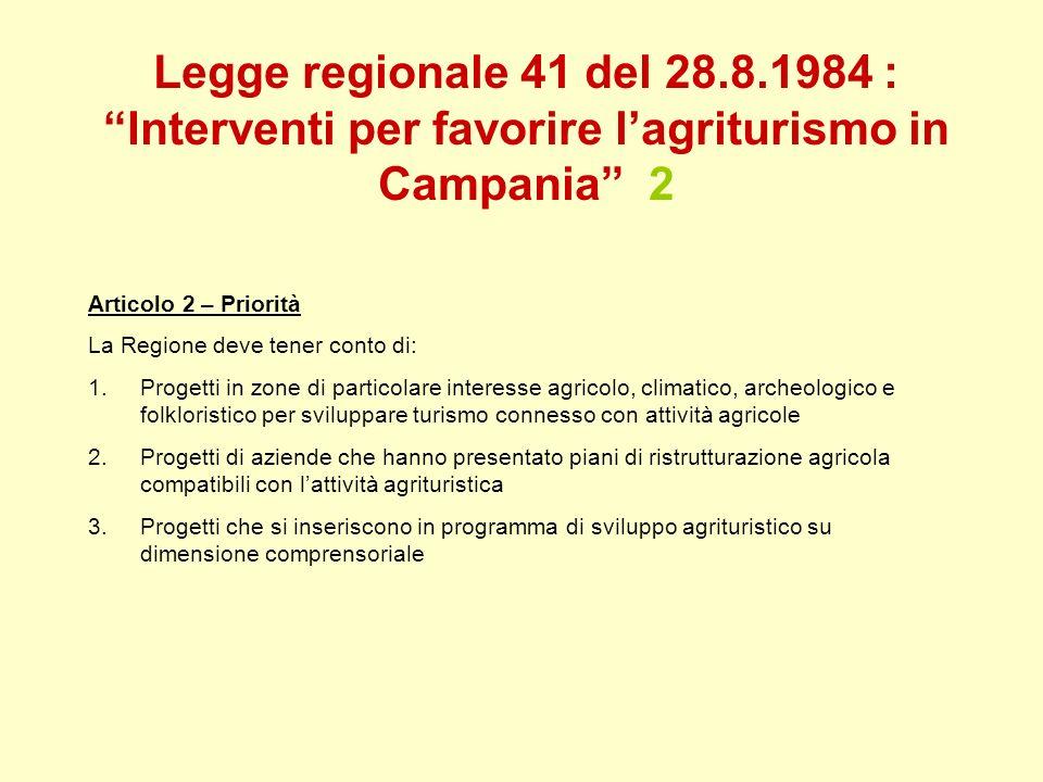 Legge regionale 41 del 28.8.1984 : Interventi per favorire lagriturismo in Campania 2 Articolo 2 – Priorità La Regione deve tener conto di: 1.Progetti