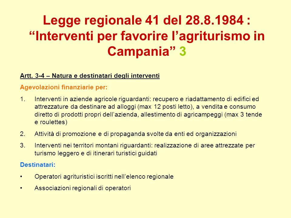 Legge regionale 41 del 28.8.1984 : Interventi per favorire lagriturismo in Campania 3 Artt. 3-4 – Natura e destinatari degli interventi Agevolazioni f