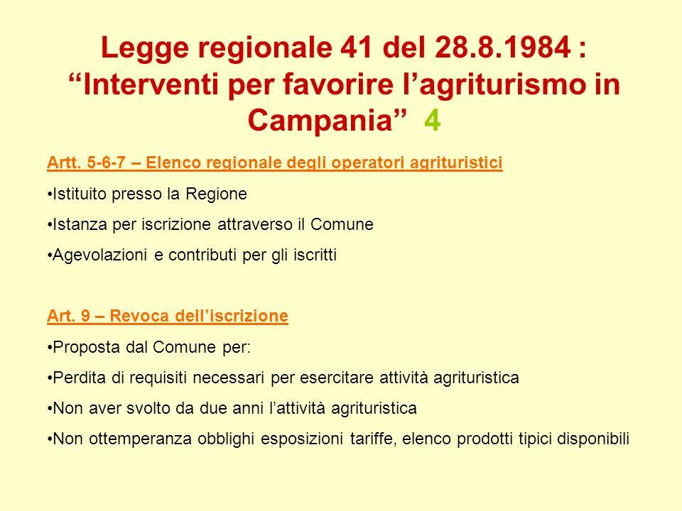 Legge regionale 41 del 28.8.1984 : Interventi per favorire lagriturismo in Campania 4 Artt. 5-6-7 – Elenco regionale degli operatori agrituristici Ist