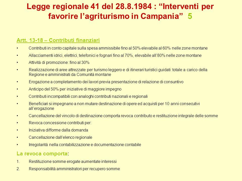 Legge regionale 41 del 28.8.1984 : Interventi per favorire lagriturismo in Campania 5 Artt. 13-18 – Contributi finanziari Contributi in conto capitale