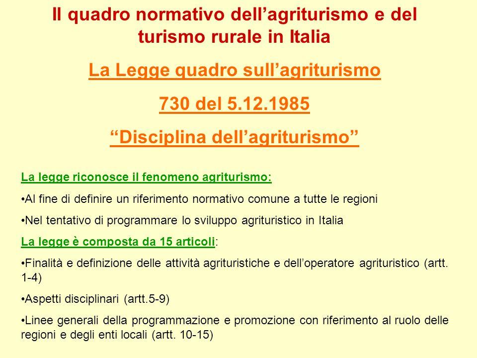 Il quadro normativo dellagriturismo e del turismo rurale in Italia La Legge quadro sullagriturismo 730 del 5.12.1985 Disciplina dellagriturismo La leg