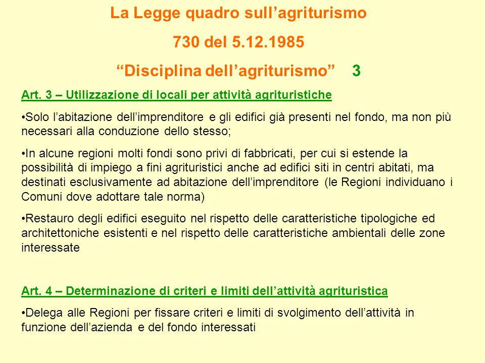 La Legge quadro sullagriturismo 730 del 5.12.1985 Disciplina dellagriturismo 3 Art. 3 – Utilizzazione di locali per attività agrituristiche Solo labit