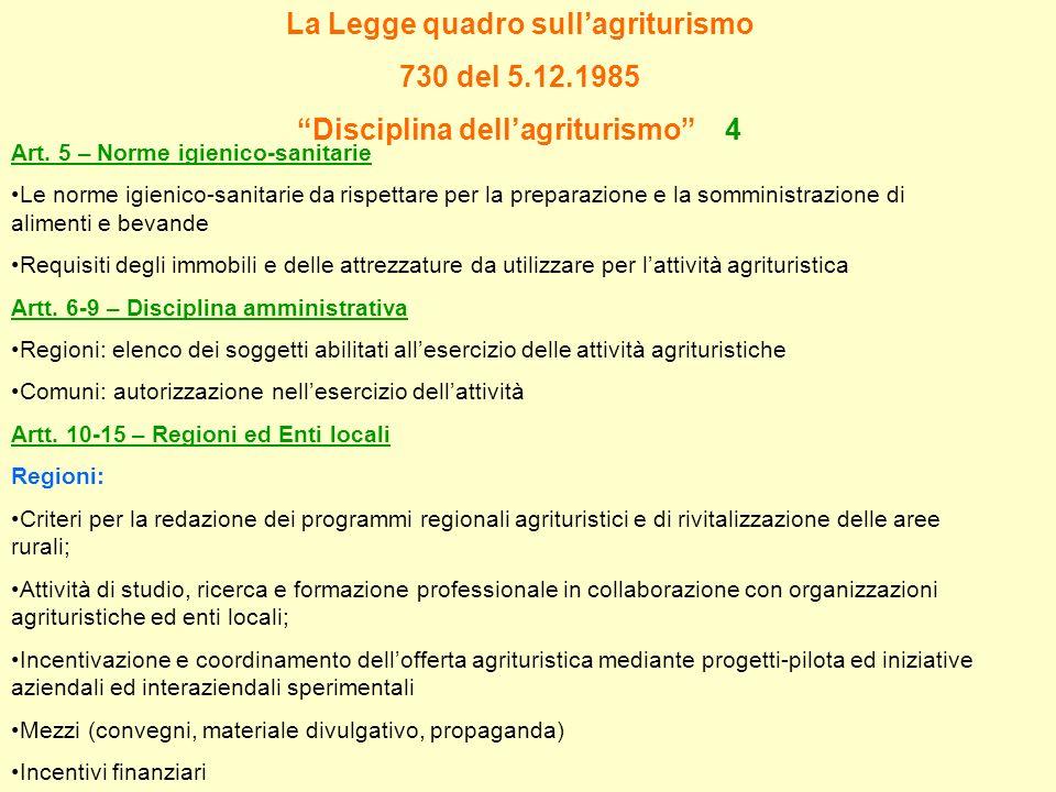 La Legge quadro sullagriturismo 730 del 5.12.1985 Disciplina dellagriturismo 4 Art. 5 – Norme igienico-sanitarie Le norme igienico-sanitarie da rispet