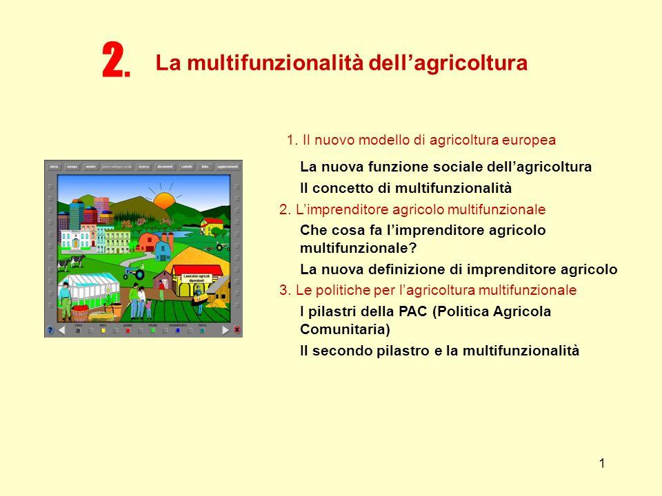 1 1. Il nuovo modello di agricoltura europea La nuova funzione sociale dellagricoltura Il concetto di multifunzionalità 2. Limprenditore agricolo mult