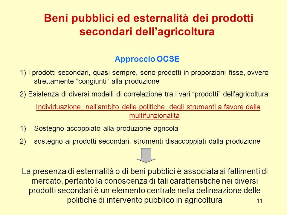 11 Beni pubblici ed esternalità dei prodotti secondari dellagricoltura Approccio OCSE 1) I prodotti secondari, quasi sempre, sono prodotti in proporzi