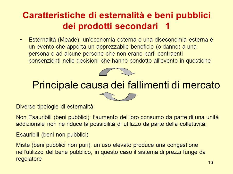 13 Caratteristiche di esternalità e beni pubblici dei prodotti secondari 1 Esternalità (Meade): uneconomia esterna o una diseconomia esterna è un even