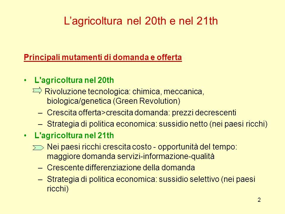 2 Lagricoltura nel 20th e nel 21th Principali mutamenti di domanda e offerta L'agricoltura nel 20th Rivoluzione tecnologica: chimica, meccanica, biolo