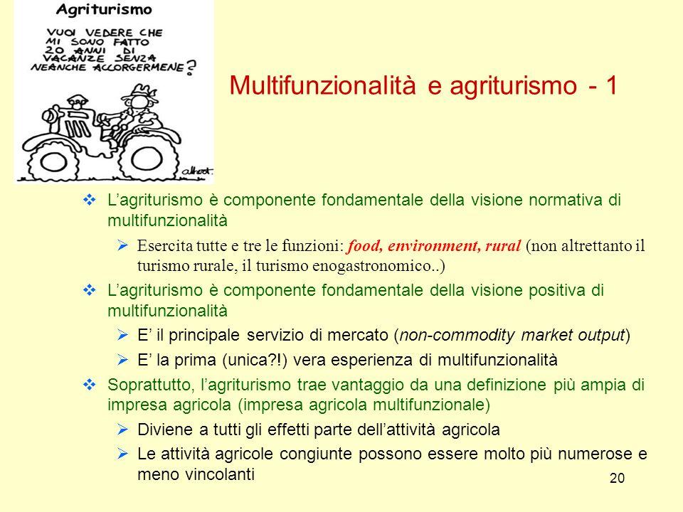 20 Multifunzionalità e agriturismo - 1 Lagriturismo è componente fondamentale della visione normativa di multifunzionalità Esercita tutte e tre le fun