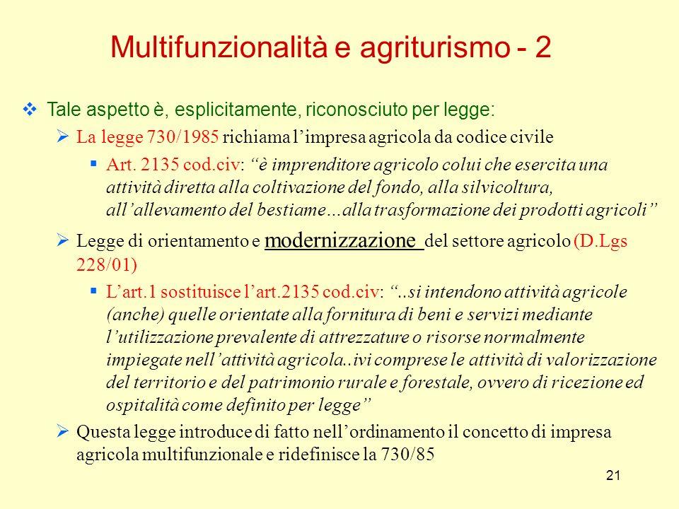 21 Multifunzionalità e agriturismo - 2 Tale aspetto è, esplicitamente, riconosciuto per legge: La legge 730/1985 richiama limpresa agricola da codice