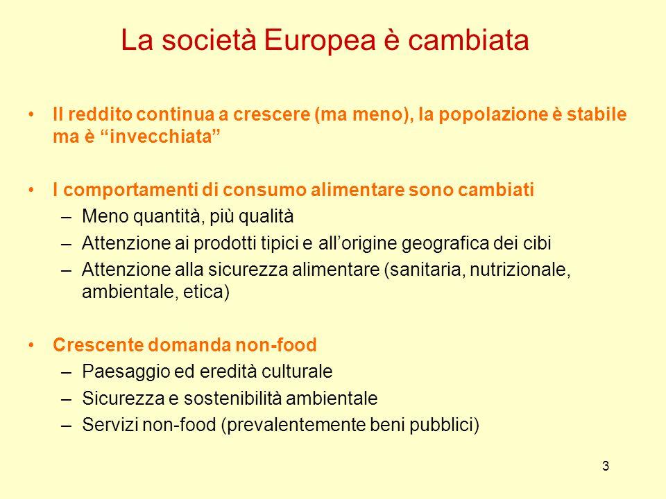 3 La società Europea è cambiata Il reddito continua a crescere (ma meno), la popolazione è stabile ma è invecchiata I comportamenti di consumo aliment
