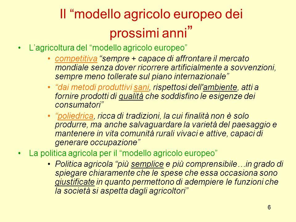 6 Il modello agricolo europeo dei prossimi anni Lagricoltura del modello agricolo europeo competitiva sempre + capace di affrontare il mercato mondial