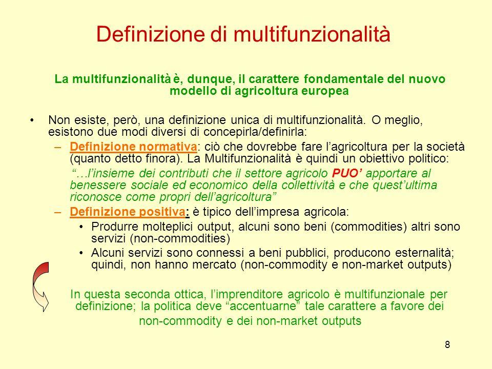 8 Definizione di multifunzionalità La multifunzionalità è, dunque, il carattere fondamentale del nuovo modello di agricoltura europea Non esiste, però
