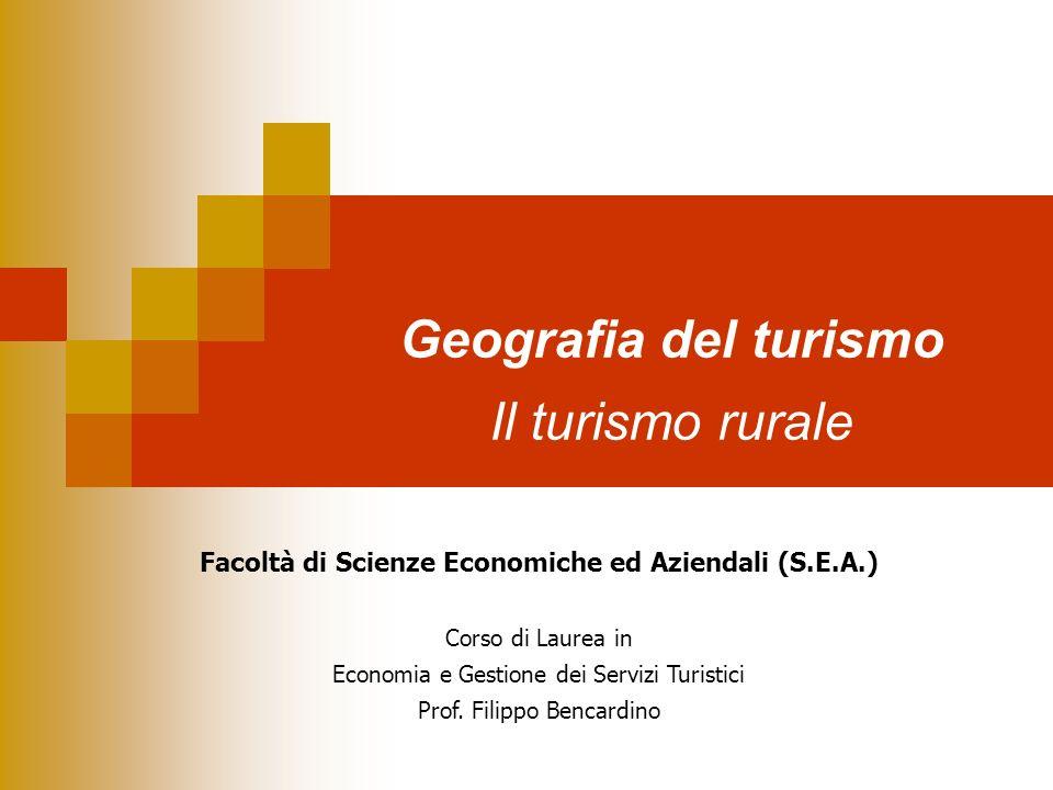 Geografia del turismo Il turismo rurale Facoltà di Scienze Economiche ed Aziendali (S.E.A.) Corso di Laurea in Economia e Gestione dei Servizi Turisti