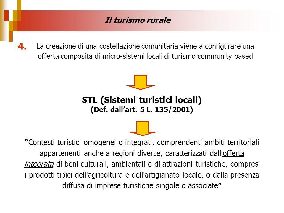 STL (Sistemi turistici locali) (Def. dallart. 5 L. 135/2001) Contesti turistici omogenei o integrati, comprendenti ambiti territoriali appartenenti an