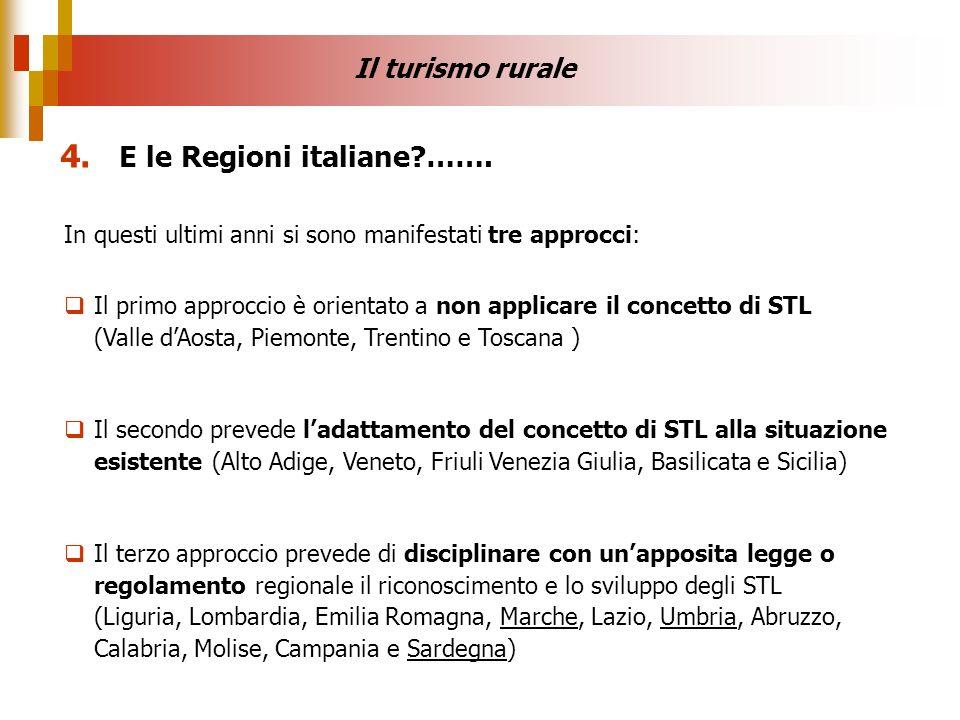 In questi ultimi anni si sono manifestati tre approcci: Il primo approccio è orientato a non applicare il concetto di STL (Valle dAosta, Piemonte, Tre
