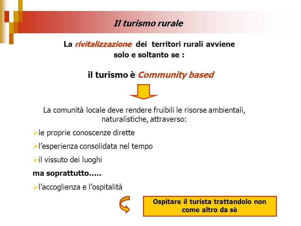 Il turismo rurale rivitalizzazione La rivitalizzazione dei territori rurali avviene solo e soltanto se : il turismo è Community based La comunità loca
