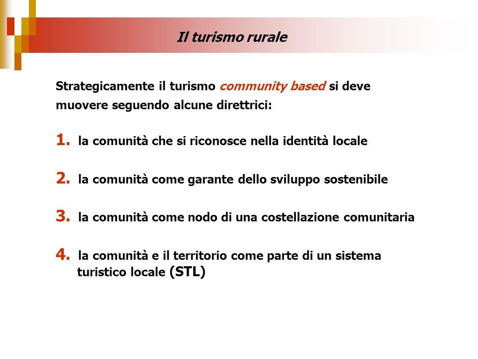 Il turismo rurale Strategicamente il turismo community based si deve muovere seguendo alcune direttrici: 1. la comunità che si riconosce nella identit