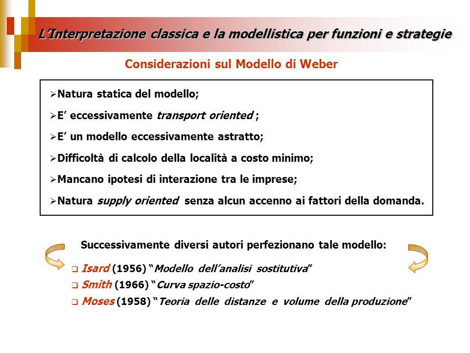 Natura statica del modello; E eccessivamente transport oriented ; E un modello eccessivamente astratto; Difficoltà di calcolo della località a costo m