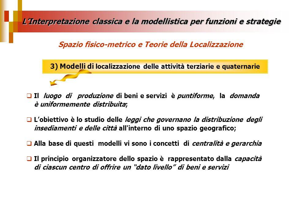 3) Modelli di localizzazione delle attività terziarie e quaternarie LInterpretazione classica e la modellistica per funzioni e strategie Spazio fisico