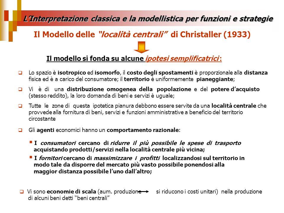 Il Modello delle località centrali di Christaller (1933) Il modello si fonda su alcune ipotesi semplificatrici : Lo spazio è isotropico ed isomorfo, i