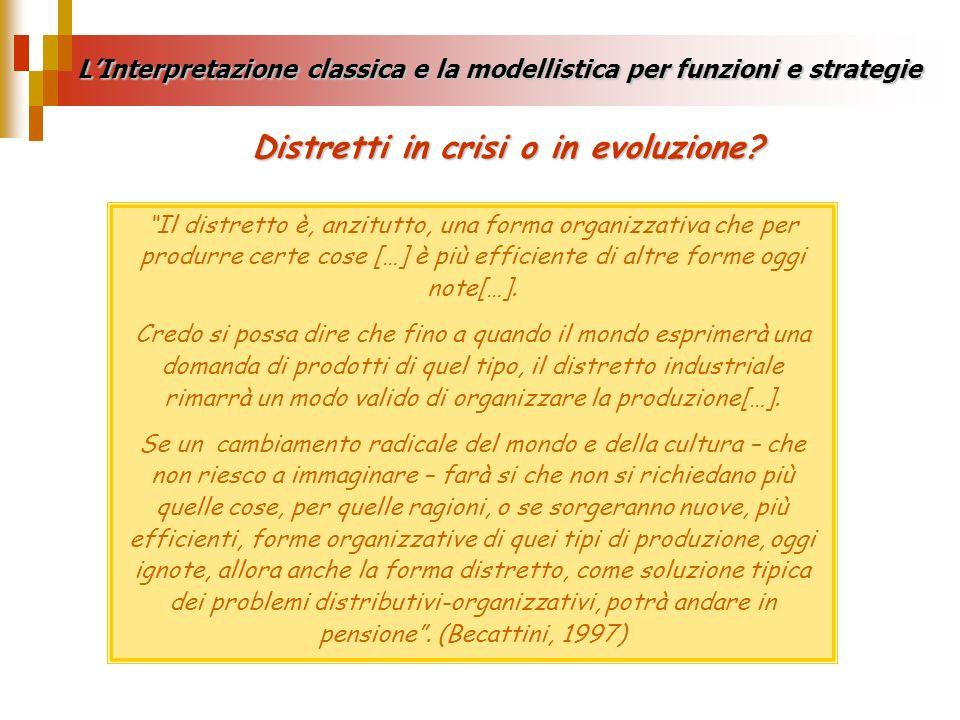 LInterpretazione classica e la modellistica per funzioni e strategie Il distretto è, anzitutto, una forma organizzativa che per produrre certe cose […