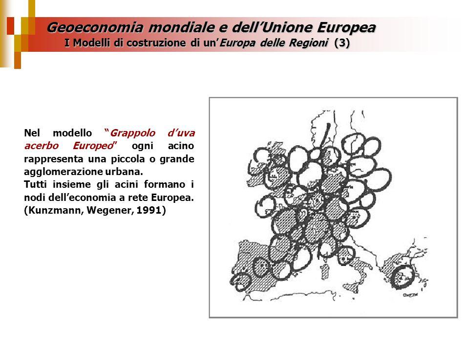 Geoeconomia mondiale e dellUnione Europea Nel modello Grappolo duva acerbo Europeo ogni acino rappresenta una piccola o grande agglomerazione urbana.