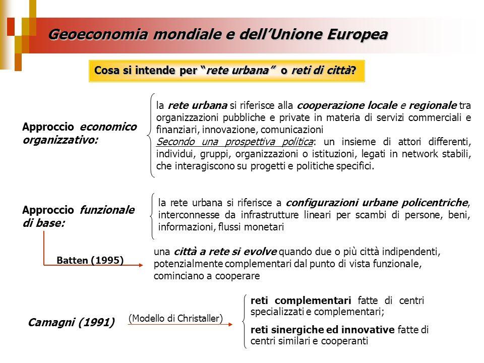 Geoeconomia mondiale e dellUnione Europea Cosa si intende per rete urbana o reti di città? Approccio economico organizzativo: Approccio funzionale di