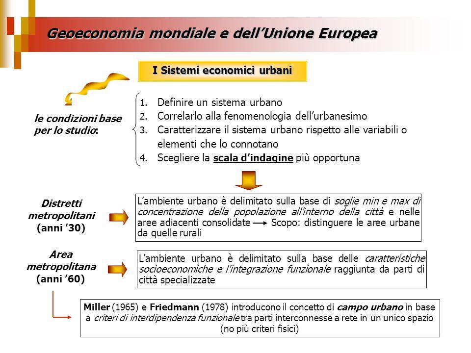 Geoeconomia mondiale e dellUnione Europea I Sistemi economici urbani le condizioni base per lo studio: 1. Definire un sistema urbano 2. Correlarlo all