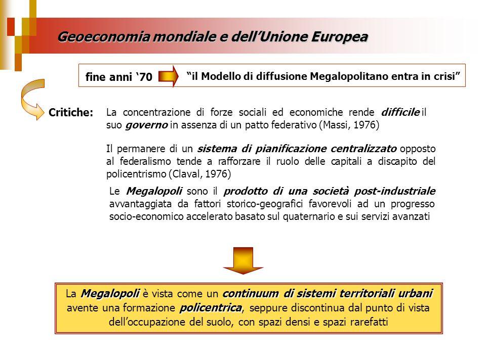 Geoeconomia mondiale e dellUnione Europea il Modello di diffusione Megalopolitano entra in crisi fine anni 70 Critiche: La concentrazione di forze soc