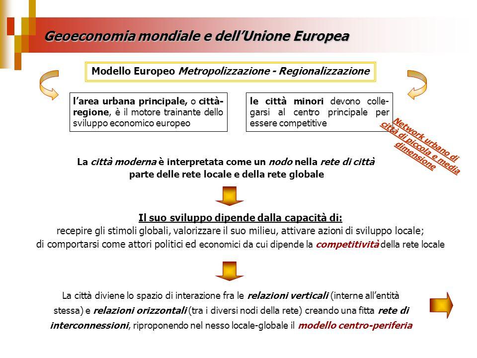 Geoeconomia mondiale e dellUnione Europea le città minori devono colle- garsi al centro principale per essere competitive larea urbana principale, o c