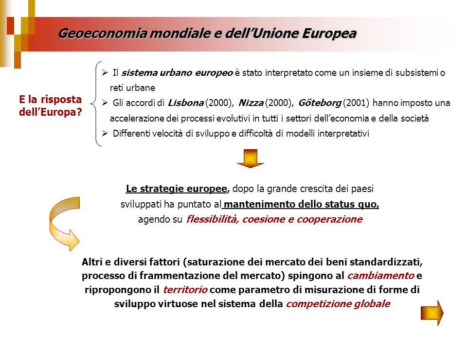Geoeconomia mondiale e dellUnione Europea Il sistema urbano europeo è stato interpretato come un insieme di subsistemi o reti urbane Gli accordi di Li