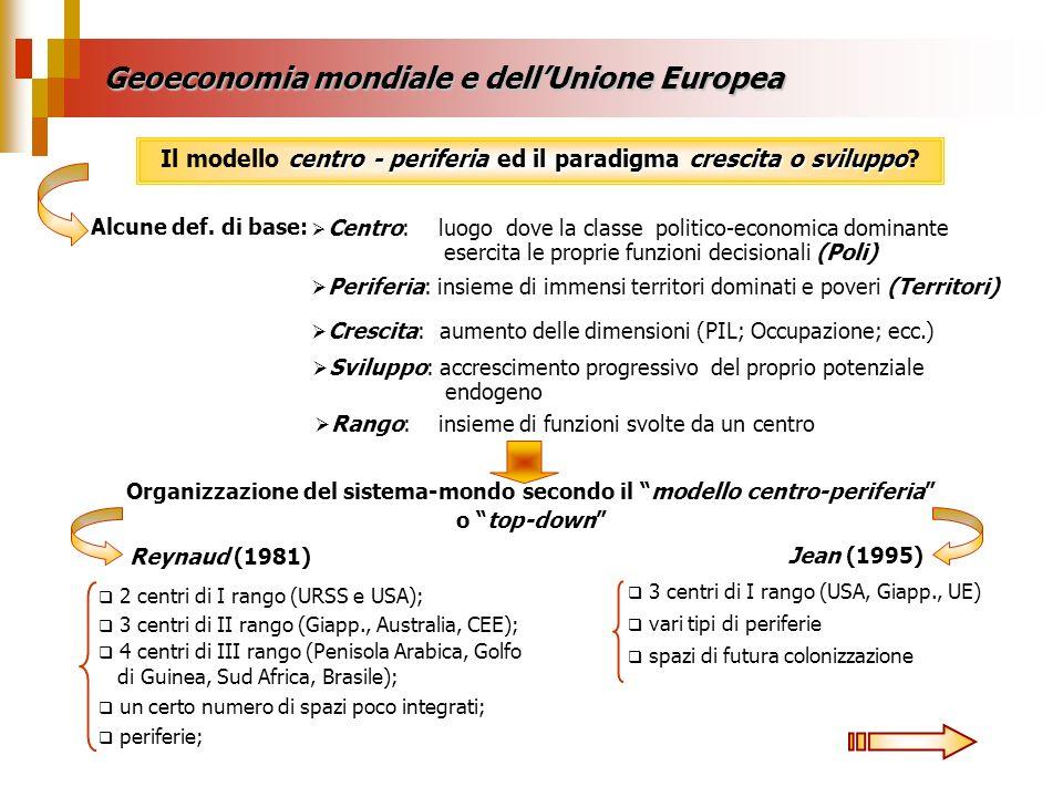 Geoeconomia mondiale e dellUnione Europea centro - periferiaparadigma crescita o sviluppo Il modello centro - periferia ed il paradigma crescita o svi