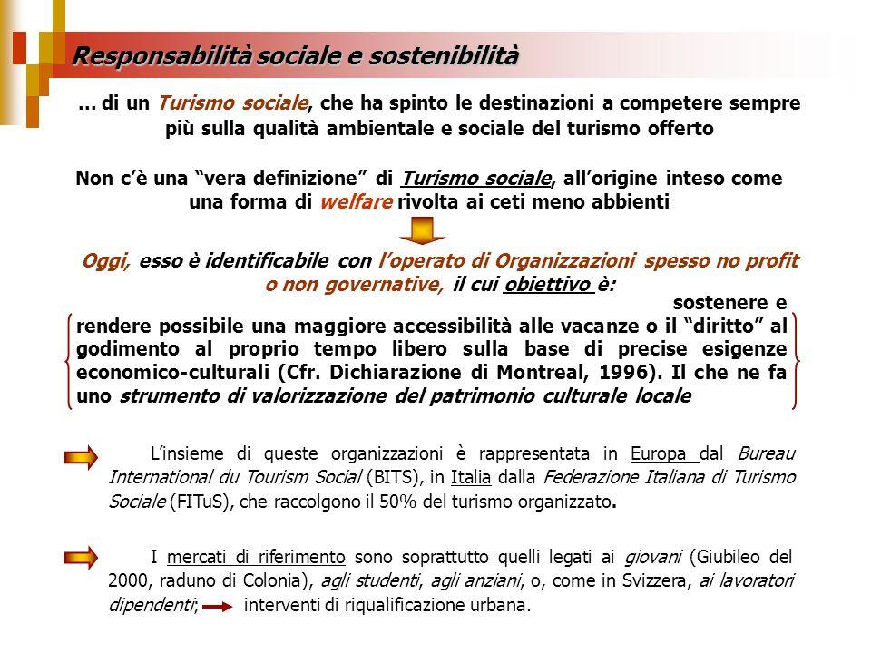 Responsabilità sociale e sostenibilità... di un Turismo sociale, che ha spinto le destinazioni a competere sempre più sulla qualità ambientale e socia